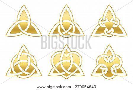 Golden Celtic Triangle Knots. Six Golden Symbols Used For Decoration Or Golden Pendants. Varieties O