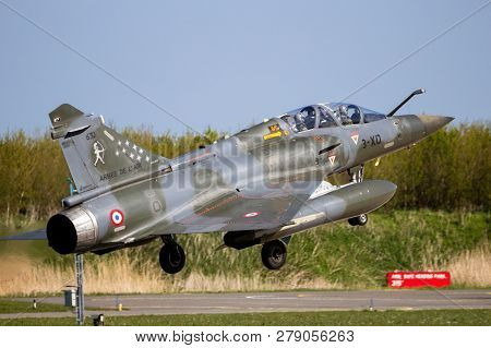 Leeuwarden, The Netherlands - Apr 21, 2016: French Air Force Dassault Mirage 2000d Fighter Jet Plane