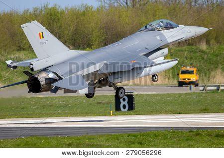 Leeuwarden, The Netherlands - Apr 21, 2016: Belgian Air Force General Dynamics F-16 Fighting Falcon