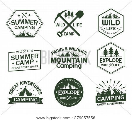 Set Of Isolated Signs With Mountains For Summer Camping. Rocks And Wildlife Signs For Sport Club, Ba