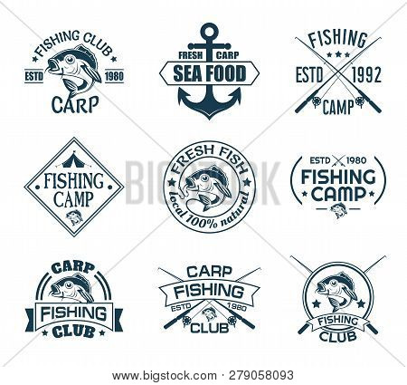 Set Of Isolated Icons With Fish For Fisherman Club. Sport Fishing Emblem Or Angler Recreation Sign.