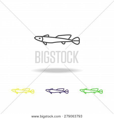 Seafood, Haddock Colored Icons. Element Of Asian Cuisine Illustration. One Of The Collection Icons F