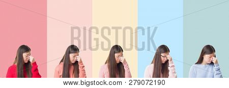 Collage of beautiful asian woman over colorful stripes isolated background tired rubbing nose and eyes feeling fatigue and headache. Stress and frustration concept.