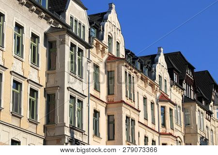 Chemnitz City - Street View Of Residential Architecture In Germany. Apartment Buildings Of Kassberg