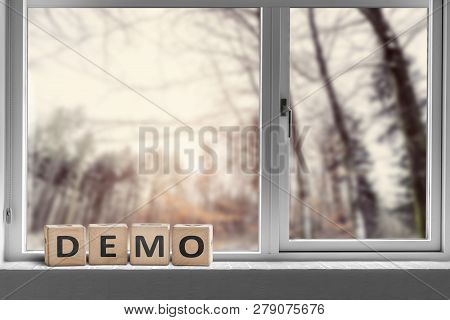 Demo Sign In A Window With A View To A Forest In The Morning