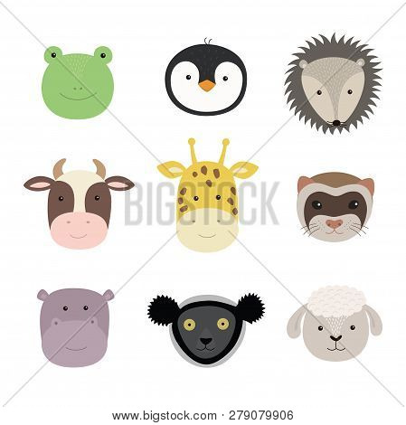Set Of Cute Funny Animals Frog, Sheep, Cow, Giraffe, Weasel, Hippo, Hedgehog, Penguin, Indri. Isolat