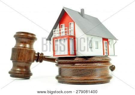 House With A Gravel And Code Isolated On White Background