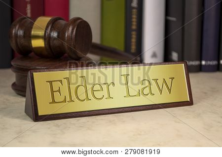 Golden Sign With Gavel And Elder Law