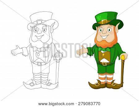 Cartoon Leprechaun In Green Frock Coat And Top Hat Present Something