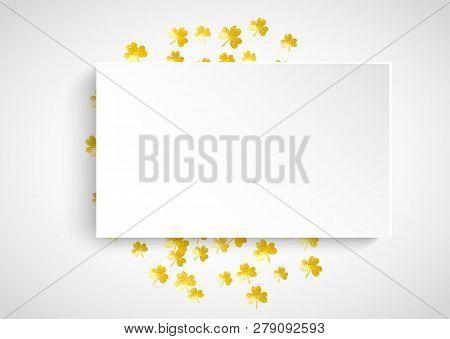 Shamrock Paper Frame For Saint Patricks Day. Lucky Trefoil Confetti. Glitter Frame Of Clover Leaves.