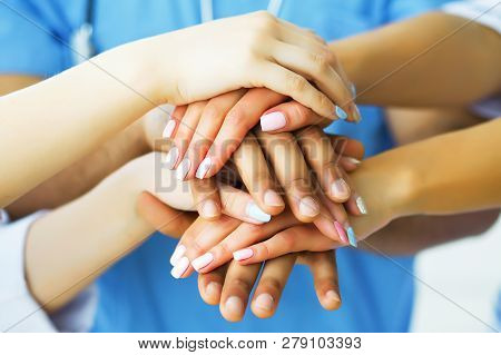 Health Care. Doctors Working Together As Team For Motivation, Success Medical Health Care For Patien