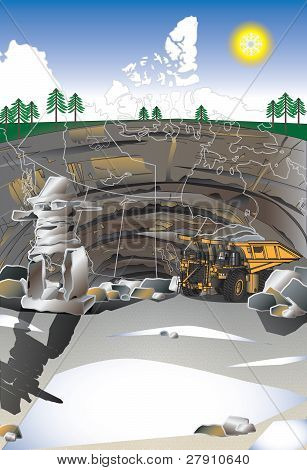 Mining poster and truck
