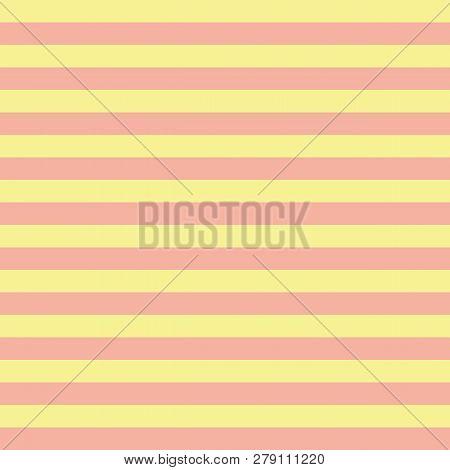 Coral Orange And Yellow Horizontal Stripes Seamless Pattern. Horizontal Striped Seamless Vector Patt