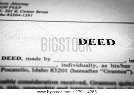 Deed to real estate transfer title ownership to land or home poster