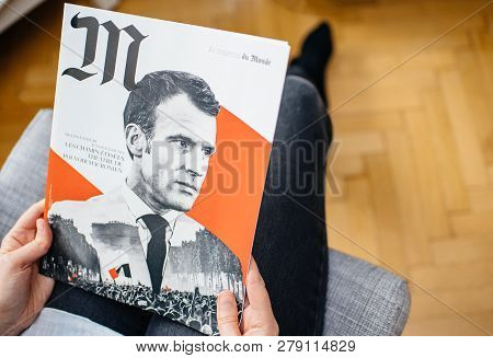 Paris, France - Jan 2, 2019: M Le Magazine Du Monde With Controversial Cover Featuring French Presid
