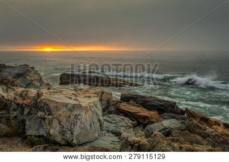 Sunrise Over The Shore Of Acadia National Park Maine - Usa