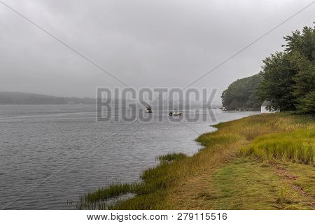 Mist On The Kennebec River Upstream View - Arrowsic Island, Maine, Usa