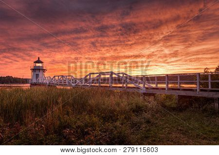 Doubling Point Lighthouse Walkway Dramatic Sunset  - Arrowsic Island, Kennebec River, Maine, Usa