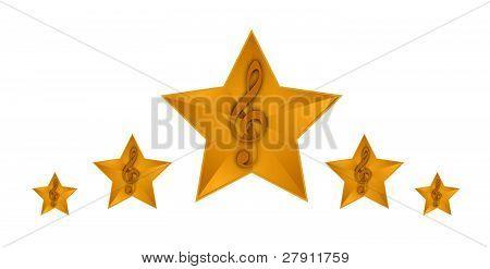 gold music stars illustration design on a white background