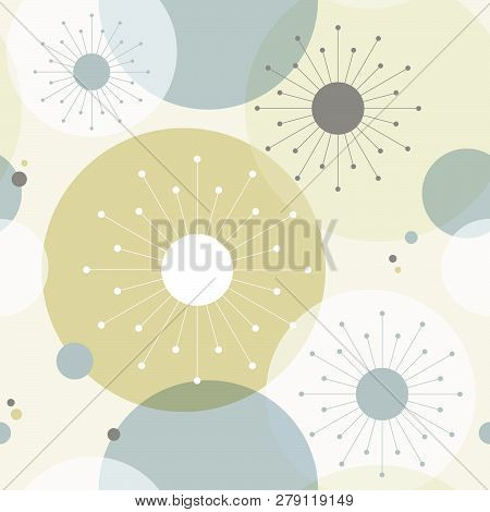 1950s Mid Century Modern Vintage Retro Atomic Seamless Background Pattern. Fully Editable Vector Ill