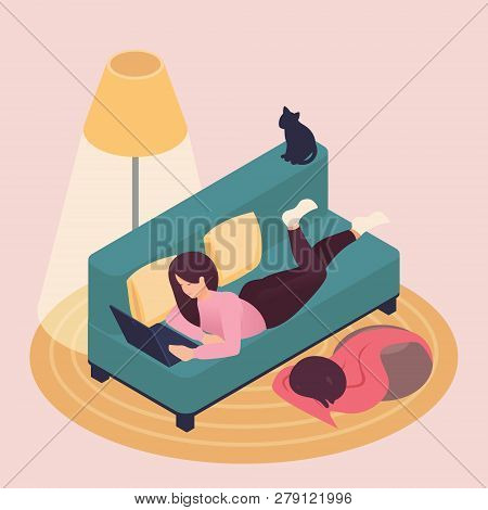 Isometric Beautiful Young Woman Working On Laptop At Home, Lying On The Couch, Pet Cat. Great Concep