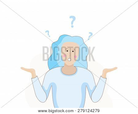 A Woman Is Shrugging With A Curious Expression. Search Solution. Modern Hand Drawn Vector Illustrati