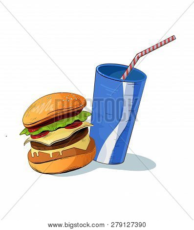 Junk Food Vector Illustration. Icon Food. Colorful Fast Food Vector Isolated On Background. Fast Foo