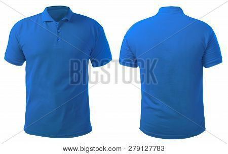 Blank Collared Shirt Mock Up Template, Front And Back View, Isolated On White, Plain Blue T-shirt Mo