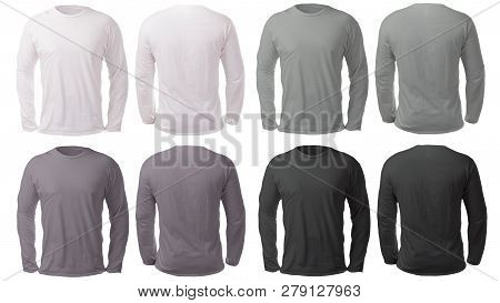 Blank Long Sleeved Shirt Mock Up Template, Front And Back View, Isolated On White, Plain Black White