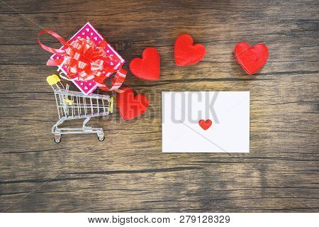 Valentines Day Shopping And Red Heart  Gift Box On Shopping Cart And Envelope Love Mail Valentine Le