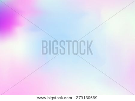 Hologram Fairy Tale Dreamy Vector Background. Simple Holographic Rainbow Gradient, Girlie Iridescent