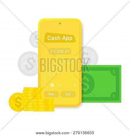 Flat Cash App Or Advertising Isolated On White Background. Mobile Pay Sign. Internet Banking. Pay Mo