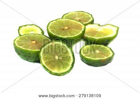 Bergamot Or Kaffir Lime Cut Half Isolate On White Background