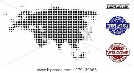 Welcome Combination Of Halftone Map Of Europe And Asia And Rubber Seals. Halftone Map Of Europe And