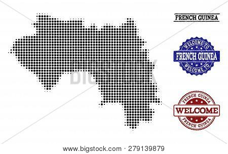Welcome Composition Of Halftone Map Of French Guinea And Rubber Seals. Halftone Map Of French Guinea