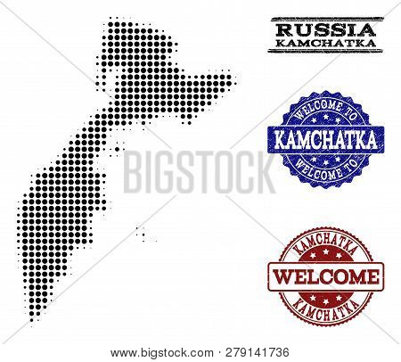 Welcome Collage Of Halftone Map Of Kamchatka Peninsula And Rubber Seal Stamps. Halftone Map Of Kamch