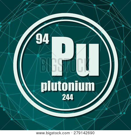 Plutonium Chemical Element. Sign With Atomic Number And Atomic Weight. Chemical Element Of Periodic