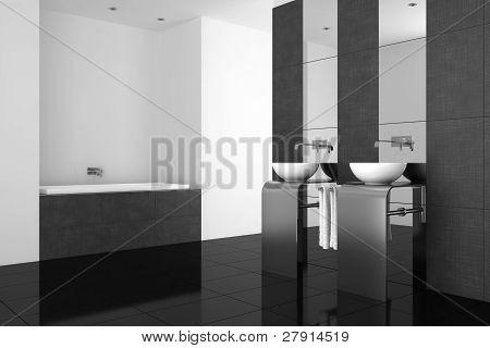 Modern Bathroom With Double Basin And Black Floor