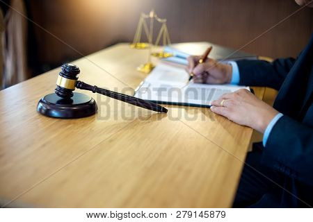 Judge Gavel With Justice Lawyers, Businessman In Suit Or Lawyer Working With Legal Law Documents.  A