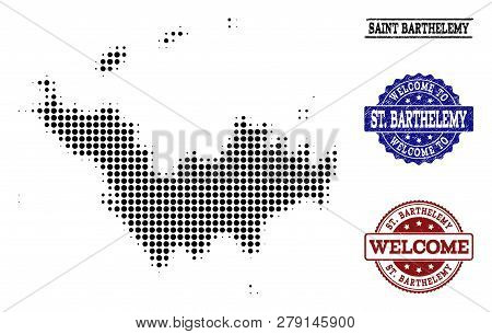Welcome Combination Of Halftone Map Of Saint Barthelemy And Rubber Seals. Halftone Map Of Saint Bart