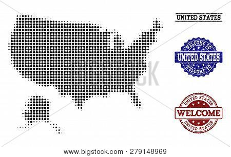 Welcome Collage Of Halftone Map Of Usa And Alaska And Rubber Seals. Halftone Map Of Usa And Alaska D