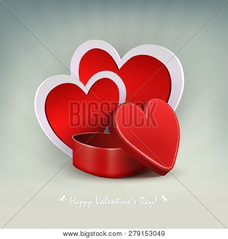 Light Composition With A Red Casket And The Silhouette Of Two Hearts With A White Border.