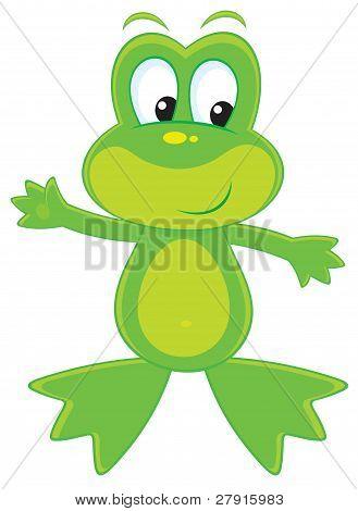Vector clip-art illustration of a funny green frog poster