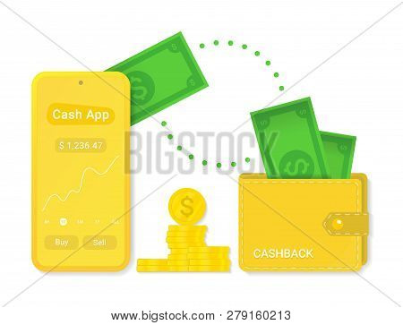 Cash App With Cashback Isolated Vector Sign Symbol. Abstract Icon With Cash For Web Design. Cash In