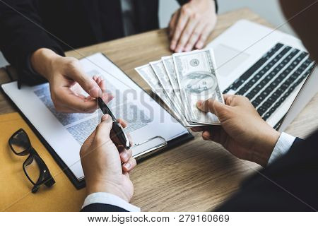 Dishonest Cheating In Business Illegal Money, Business Man Giving Bribe Money In Business People To