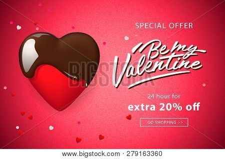 Web Banner For Valentines Day. Chocolate Heart And Confetti, Vector Illustration.