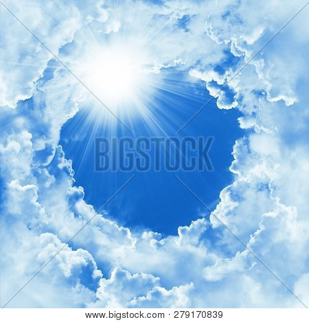 Beautiful Sky With Cloud And Sunshine. Religion Concept Heavenly Sky Background. Divine Shining Heav