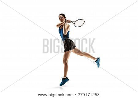 Full Length Portrait Of Young Woman Playing Tennis Isolated On White Background. Healthy Lifestyle.