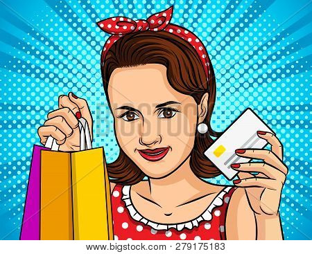 Color Vector Illustration Of A Pop Art Style Girl Shopping Online. A Beautiful Girl Holds A Package