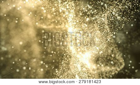 Particle cloud. Elegant golden abstract fantasy. Technology, science and spirituality background. Depth of field settings. 3D rendering.